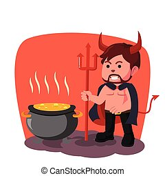 demon boiling pot illustration