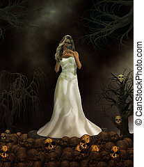 Demon Bride - Female demon in wedding dress ready to get...