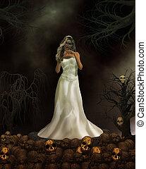 Demon Bride - Female demon in wedding dress ready to get...