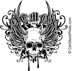 demon - Abstract vector illustration black and white horned...