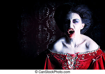 demon in night - Close-up portrait of a bloodthirsty female...