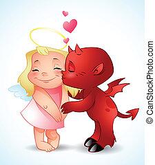 demon, mały, pocałunki, anioł