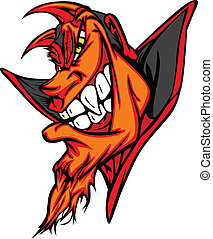 Demon Mascot Head Vector Cartoon - Cartoon Vector Image of a...
