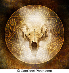 Demon Ritual with a satanic goat-horned ram skull materialising within an elaborate circular emblem of mysterious and arcane occult symbolism.