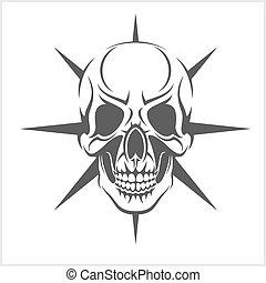 Demon Skull on white - Demon scary Skull isolated on white ...