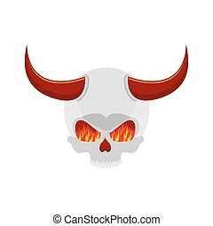 demon skull with horns. eyes of flame. Satan skeleton