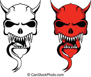 demon skulls - demon skull design of one in red and one is...