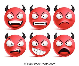 Demon smileys vector set. Bad devil smiley face or red emoticons with facial expressions