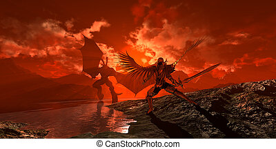 demon vs angel - demon in battle with angel