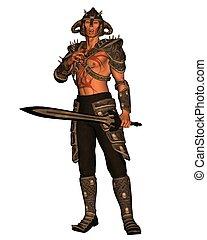 Demon Warrior - 2 - Demon warrior with sword, 3d digitally...