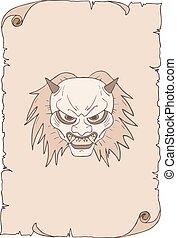 demone, disegnare, carta, vecchio, faccia