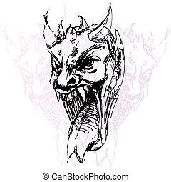 demone, disegno, faccia