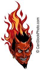 demone, o, diavolo, grafico, immagine, mascotte, vettore, testa