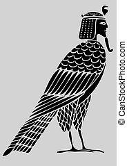 demone, uccello, -, anime, egiziano