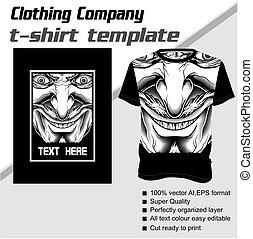 demonic, ベクトル, 十分に, editable, tシャツ, テンプレート
