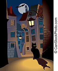 Demonic cat on a street, perfect illustration for Halloween holiday