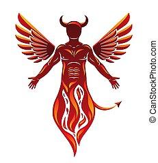 demonic, emergere, carattere, cornuto, cattivo, creatura, ...