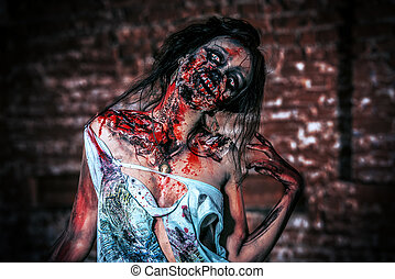 demonic - Horrible bloody zombie girl standing outdoor by...