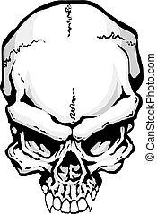 Demonic Skull - Illustration in hand drawn style of demonic...