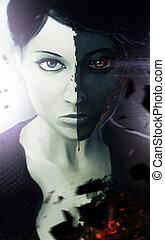 Demonic woman portrait.