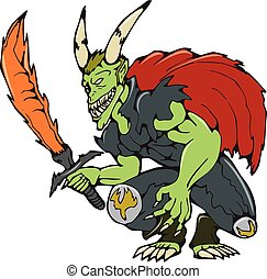 demonio, wield, ardiente, espada, caricatura