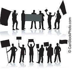 demonstartion, 人们, -, 黑色, 侧面影象