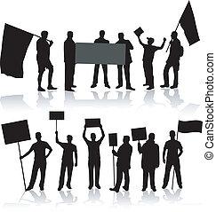 demonstartion, leute, -, schwarz, silhouette