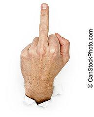 demonstrates, грубый, жест, рука