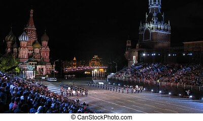 demonstratie, opvoering, van, kadetten, van, orkest, suvorovtsev, moskou, military-musical, universiteit