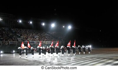 demonstratie, opvoering, van, zwitserland, hoogste geheim, trommelkorpsen, op, straatfeest, spasskaya, bashnya