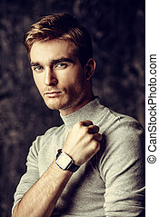 demonstrating wrist watch