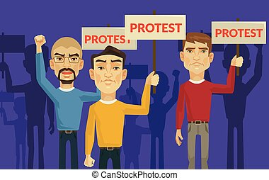 Demonstration and protest. Vector flat illustration