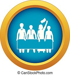 Demonstration crowd icon blue vector isolated