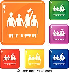 Demonstration crowd icons set vector color