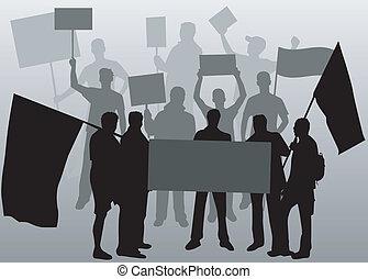 demonstration, leute 2, -, schwarz, silhouette