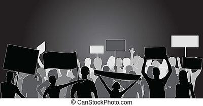 demonstration, leute, -, schwarz, silhouette