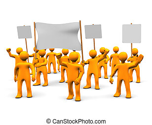 Demonstration - Many orange cartoons during the...