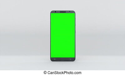 Demonstration of a smartphone with a green screen. Computer generated modern backdrop. Touchscreen device, 3d rendering
