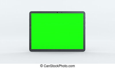 Demonstration of a tablet with green screen, computer generated. Touchscreen device, 3d rendering. Computer generated modern backdrop.