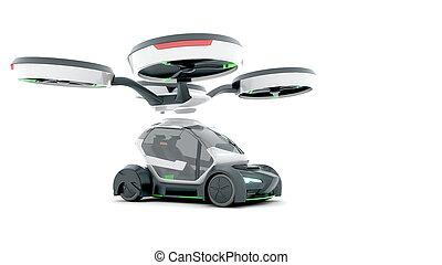 Demonstration of autonomous electric flying car.3D...