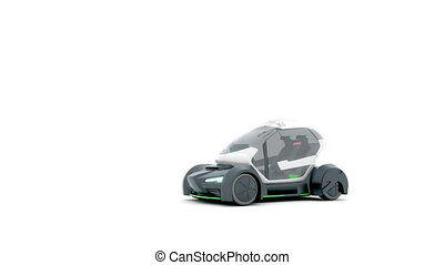 Demonstration of autonomous electric flying car.3D animation...