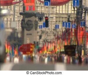 Festive Parade and demonstration on the Day of victory. Saint-Petersburg, Nevsky Prospekt, 9 may.