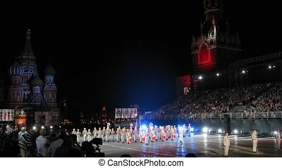 MOSCOW - AUG 31: Demonstration performances orchestra of the Foreign Legion of France on festival SPASSKAYA BASHNYA on Red Square on Aug 31, 2011 in Moscow, Russia