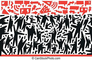 demonstration protest - demonstration - vector illustration ...