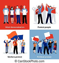 Silent demonstration and political protest people with placards megaphones and flags 2x2 icons set flat isolated vector illustration