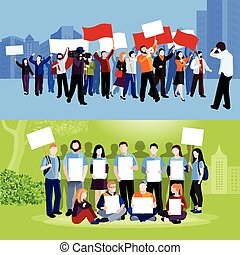 Demonstration protest people holding placards megaphones and flags and reporters with cameras on blue and green cityscape backgrounds flat isolated vector illustration