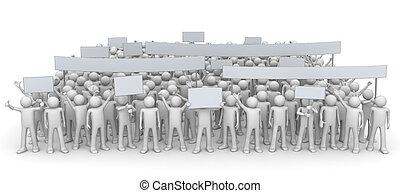 demonstration, -, riesig, crowd