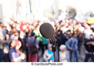 Demonstration. Street protest. Political rally. - Microphone...
