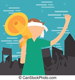 demonstration young man yelled at megaphone loud speaker shouting vector illustration protest demonstrate