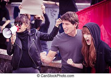 demostración, calle, participantes